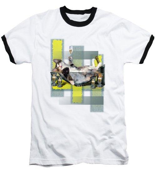 Funny Pet Print With A Tipsy Kitty  Baseball T-Shirt by Regina Femrite