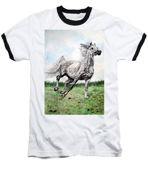Galloping Arab Horse Baseball T-Shirt by Melita Safran