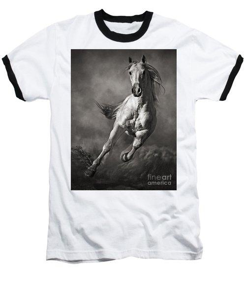 Galloping White Horse In Dust Baseball T-Shirt