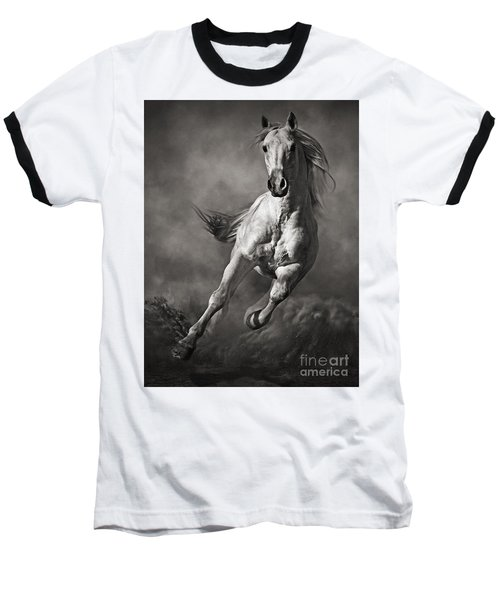 Galloping White Horse In Dust Baseball T-Shirt