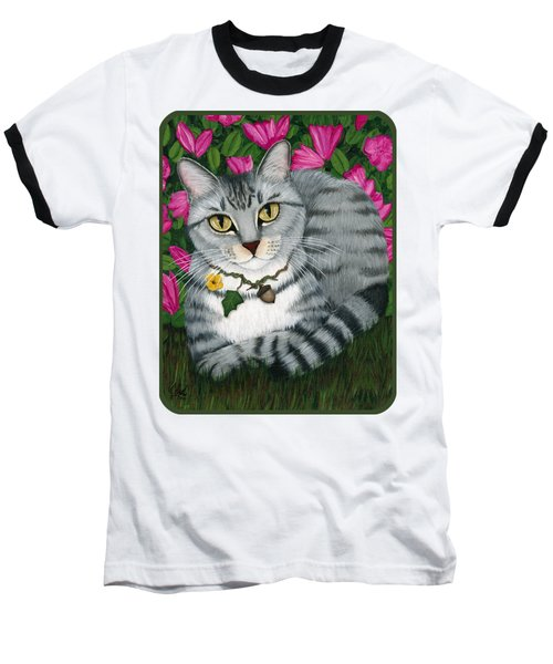 Baseball T-Shirt featuring the painting Garden Cat - Silver Tabby Cat Azaleas by Carrie Hawks