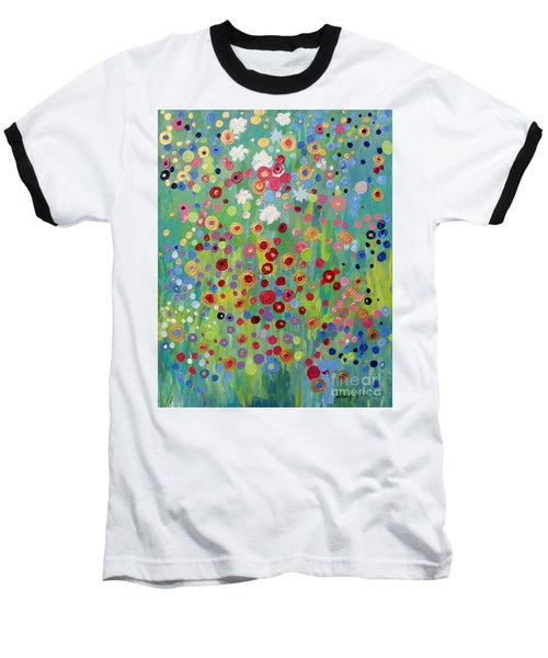 Baseball T-Shirt featuring the painting Garden's Dance by Stacey Zimmerman