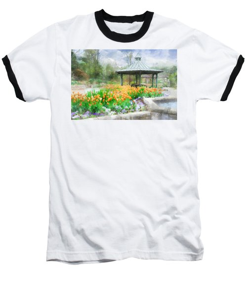 Baseball T-Shirt featuring the digital art Gazebo With Tulips by Francesa Miller