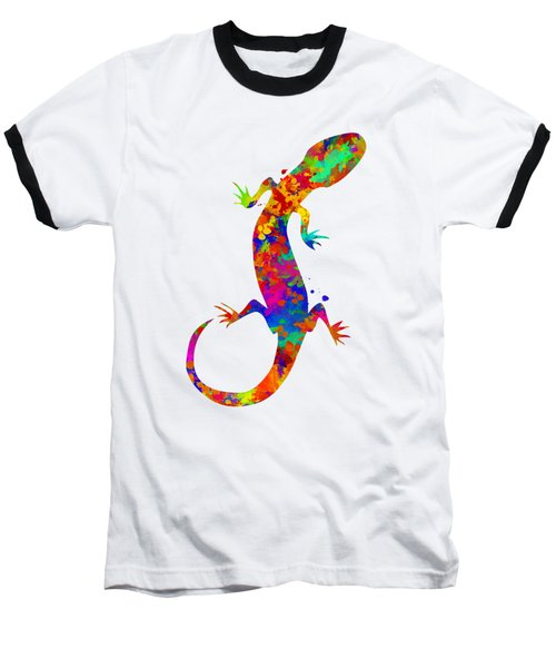 Gecko Watercolor Art Baseball T-Shirt