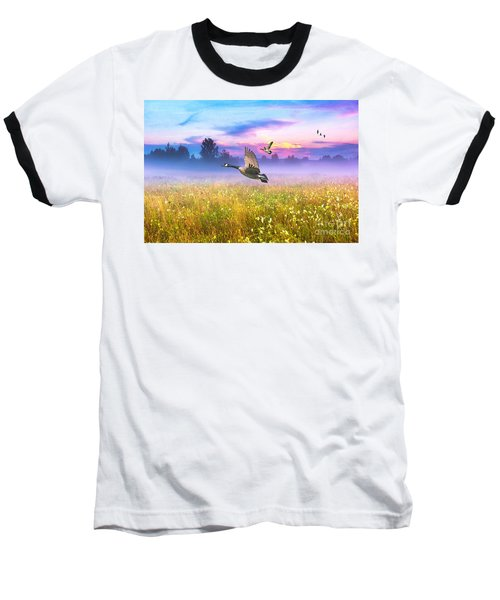 Geese In The Mist Baseball T-Shirt