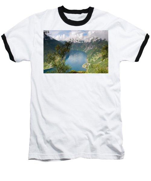 Geirangerfjord With Birch Baseball T-Shirt by Aivar Mikko