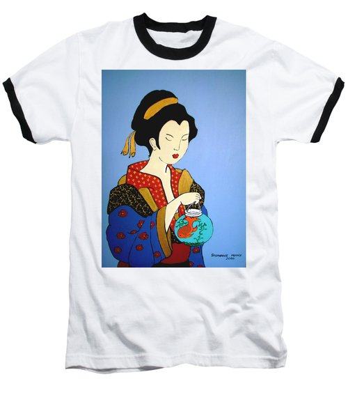 Baseball T-Shirt featuring the painting Geisha With Fish by Stephanie Moore