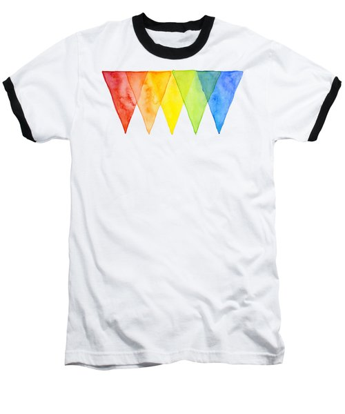 Geometric Watercolor Pattern Rainbow Triangles Baseball T-Shirt