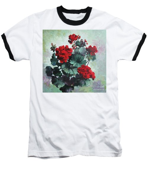 Baseball T-Shirt featuring the painting Geranium by Elena Oleniuc