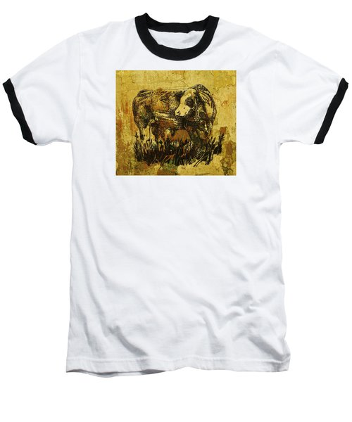 Baseball T-Shirt featuring the drawing German Fleckvieh Bull 21 by Larry Campbell