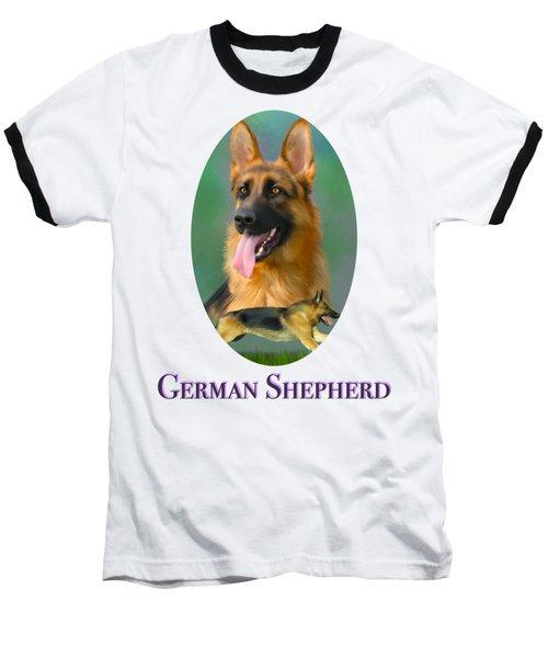 German Shepherd With Name Logo Baseball T-Shirt