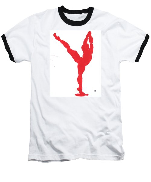 Baseball T-Shirt featuring the painting Gesture Brush Red 1 by Shungaboy X