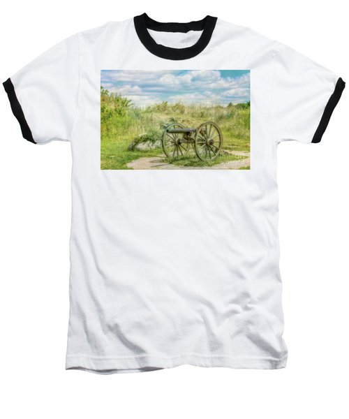 Gettysburg Battlefield Cannon Ver Two Baseball T-Shirt by Randy Steele