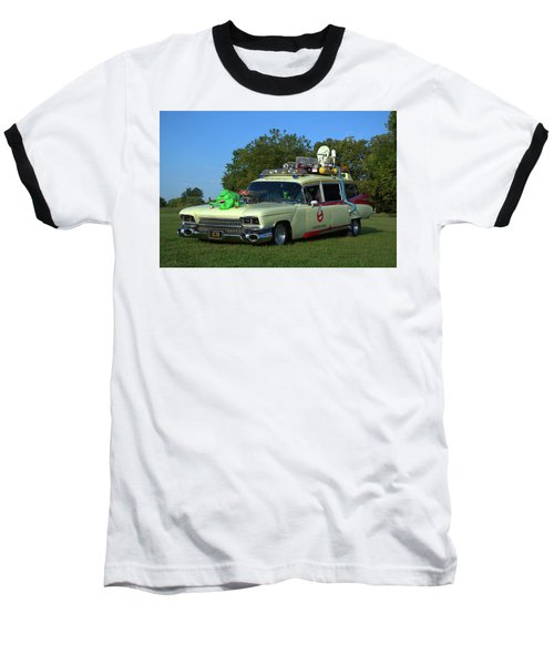 1959 Cadillac Ghostbusters Ambulance Replica Baseball T-Shirt