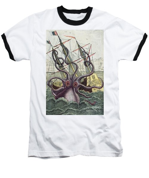 Giant Octopus Baseball T-Shirt