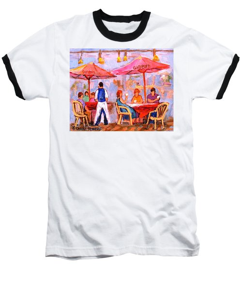 Baseball T-Shirt featuring the painting Gibbys Cafe by Carole Spandau
