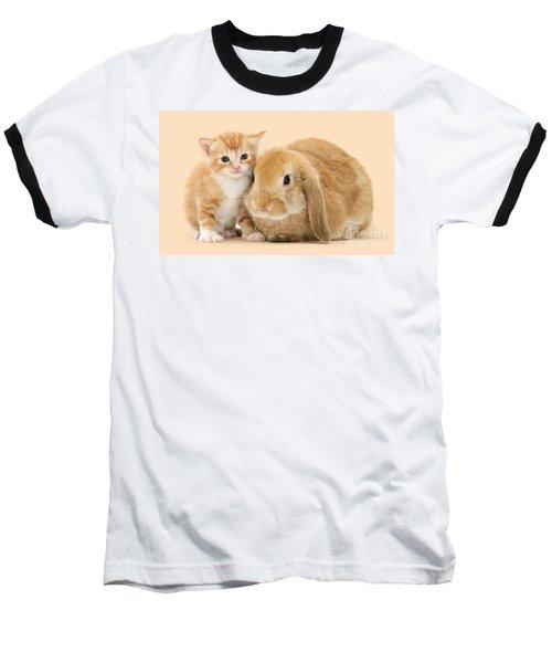 Ginger Kitten And Sandy Bunny Baseball T-Shirt