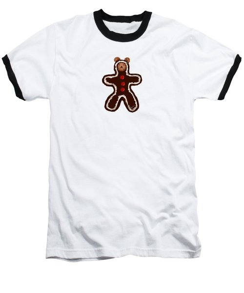 Gingerbread Teddy Baseball T-Shirt by Jean Pacheco Ravinski