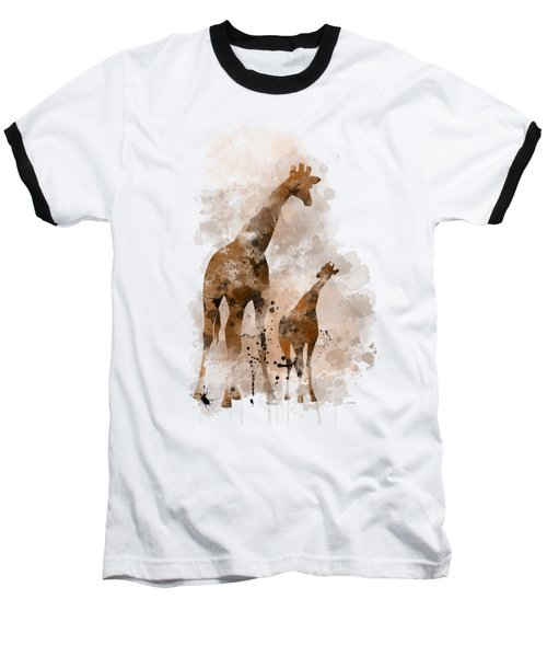 Giraffe And Baby Baseball T-Shirt by Marlene Watson