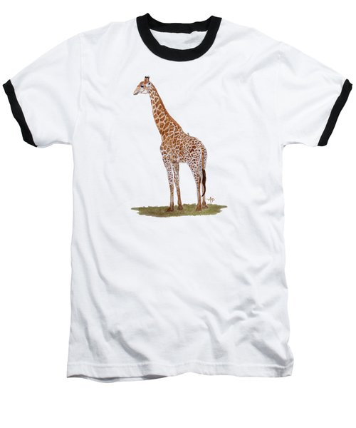 Giraffe Baseball T-Shirt by Angeles M Pomata