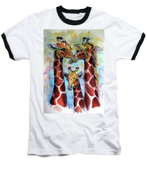 Giraffe Family Baseball T-Shirt by Kovacs Anna Brigitta