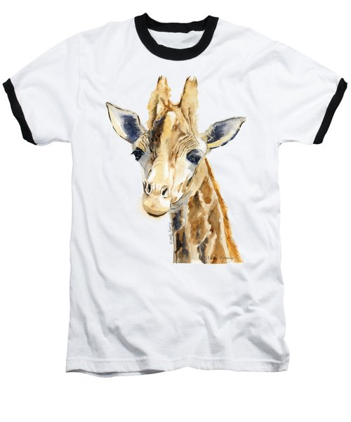 Giraffe Watercolor Baseball T-Shirt by Melly Terpening