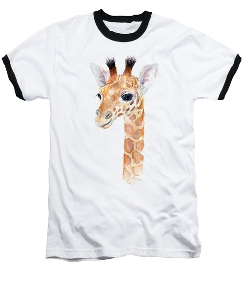 Giraffe Watercolor Baseball T-Shirt