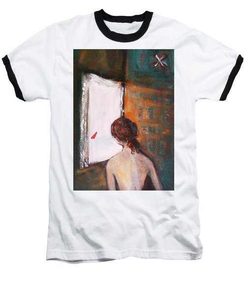 Baseball T-Shirt featuring the painting Girl At The Window by Winsome Gunning