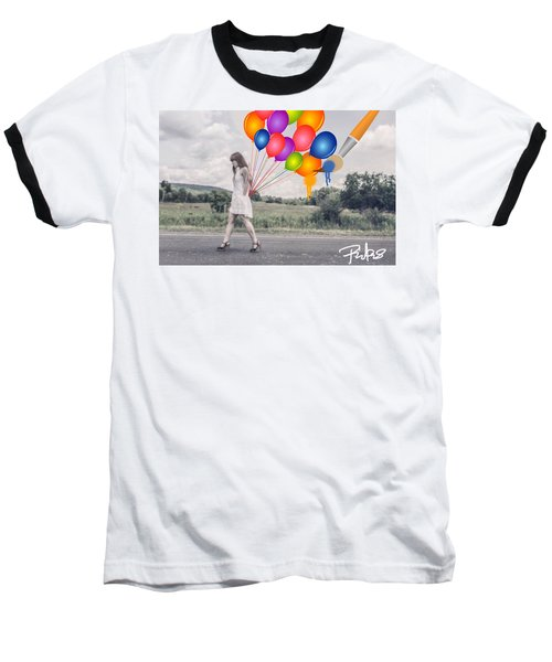 Girl Walking With Ballons #1 Baseball T-Shirt by Diana Riukas