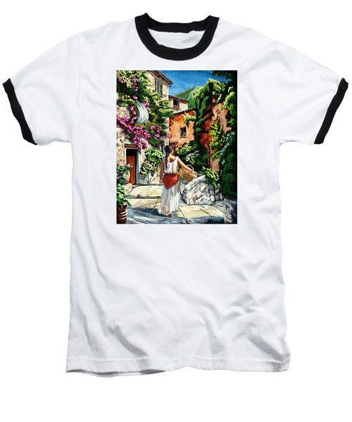 Girl With Basket On A Greek Island Baseball T-Shirt