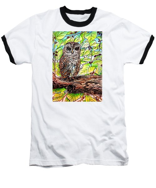 Baseball T-Shirt featuring the painting Give A Hoot by Patricia L Davidson