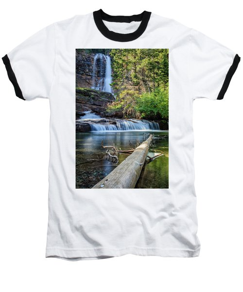 Glacier National Park Waterfall 3 Baseball T-Shirt