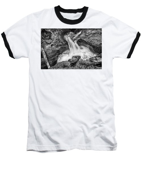 Glacier National Park's Avalanche Gorge In Black And White Baseball T-Shirt