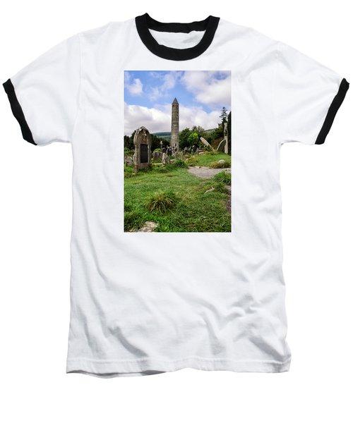 Glendalough Tower Ireland Baseball T-Shirt by Martina Fagan