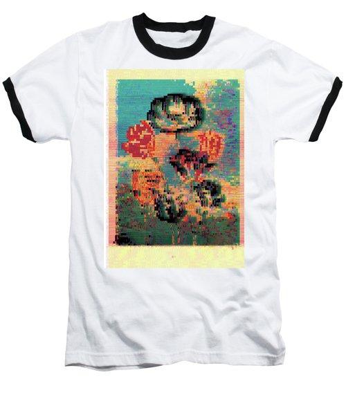 Glitched Tulips Baseball T-Shirt