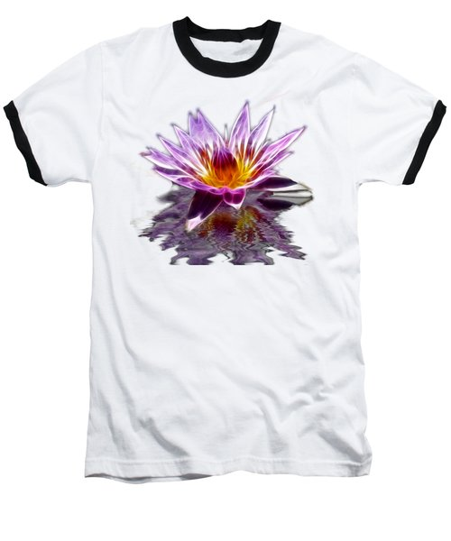 Glowing Lilly Flower Baseball T-Shirt by Shane Bechler