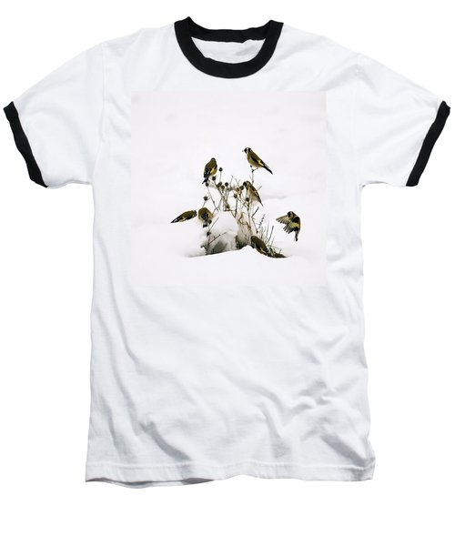 Gold Finches In Snow Baseball T-Shirt