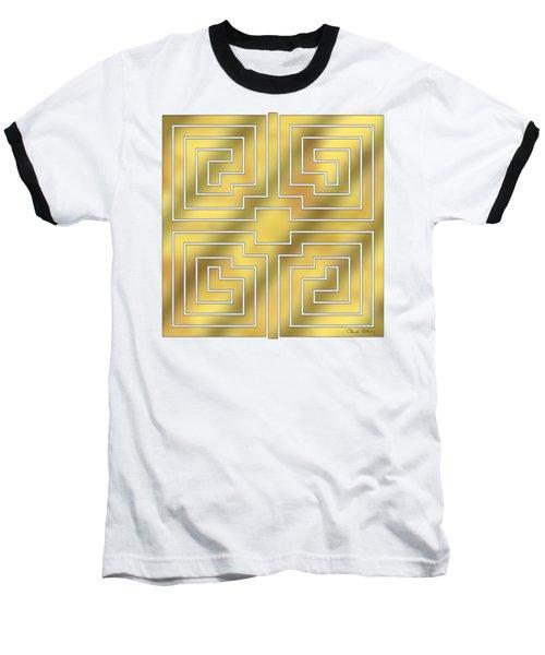 Baseball T-Shirt featuring the digital art Gold Geo 4 - Chuck Staley Design  by Chuck Staley