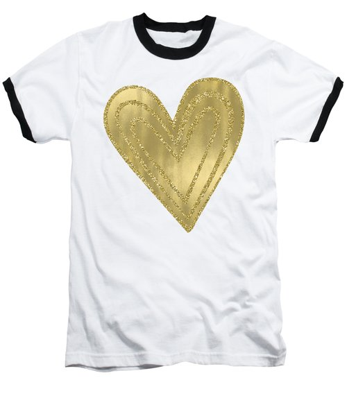 Gold Glam Heart Baseball T-Shirt by P S