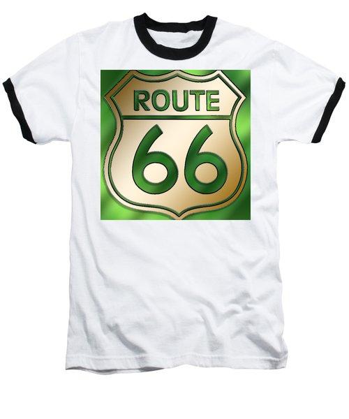 Gold Route 66 Sign Baseball T-Shirt