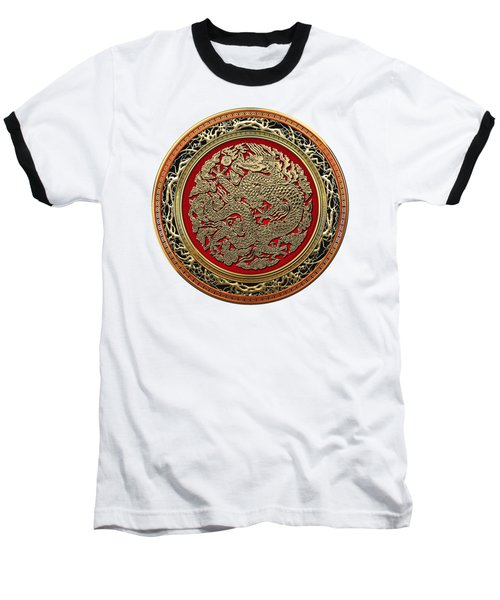 Golden Chinese Dragon White Leather  Baseball T-Shirt