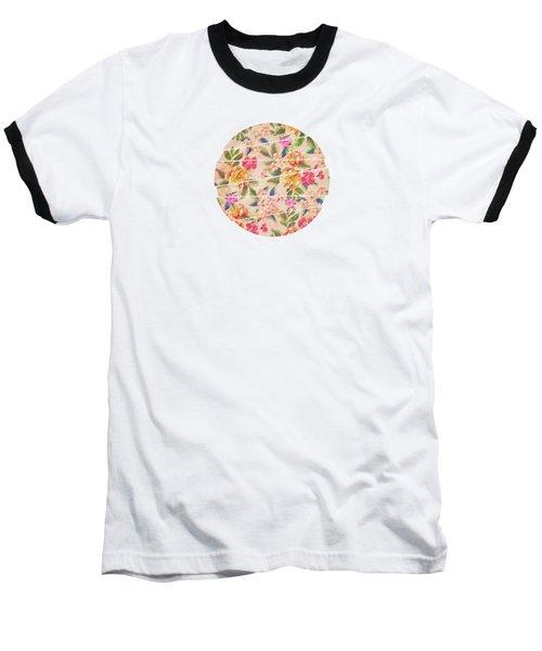Golden Flitch Digital Vintage Retro  Glitched Pastel Flowers  Floral Design Pattern Baseball T-Shirt by Philipp Rietz