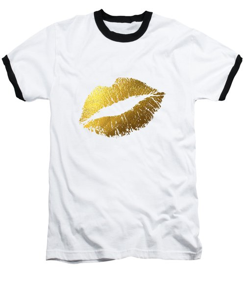 Gold Lips Baseball T-Shirt by BONB Creative