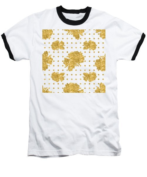 Baseball T-Shirt featuring the painting Golden Gold Blush Pink Floral Rose Cluster W Dot Bedding Home Decor by Audrey Jeanne Roberts