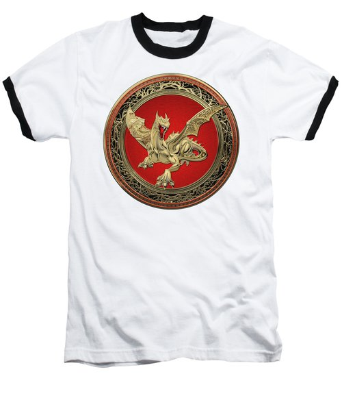Golden Guardian Dragon Over White Leather Baseball T-Shirt by Serge Averbukh