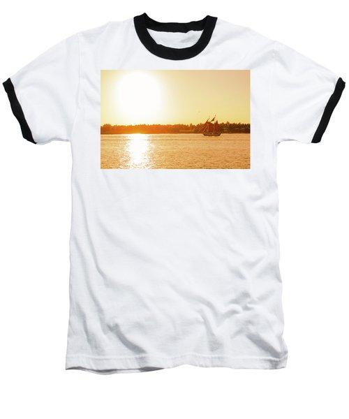 Golden Hour Sailing Ship Baseball T-Shirt
