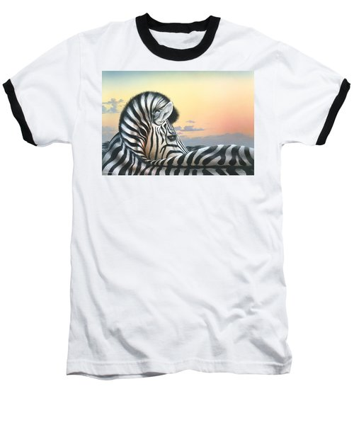 Baseball T-Shirt featuring the painting Golden Sky by Mike Brown
