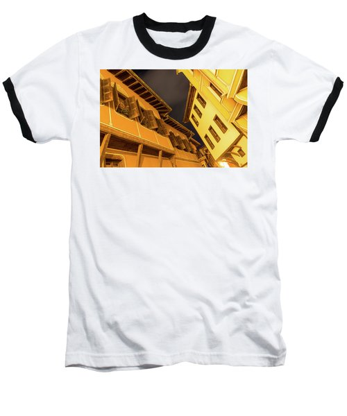 Golden Yellow Night - Chic Zigzags Of Oriel Windows And Serrated Roof Lines Baseball T-Shirt