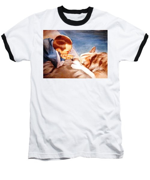 Baseball T-Shirt featuring the painting Goodbye Misty by Marilyn Jacobson
