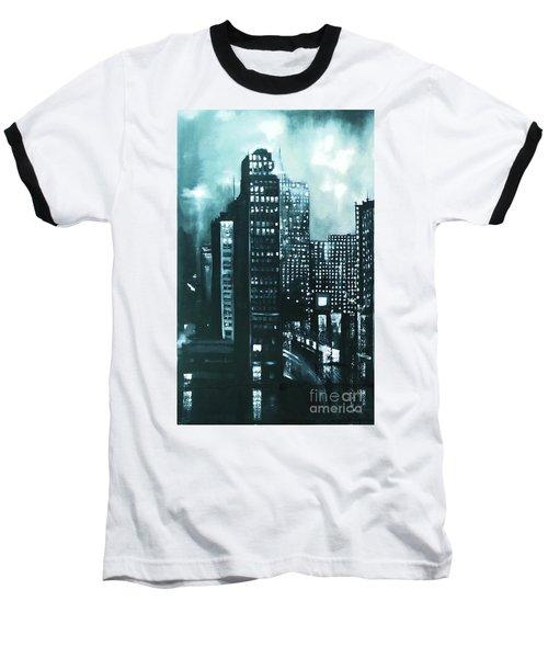 Gotham Painting Baseball T-Shirt by Maja Sokolowska